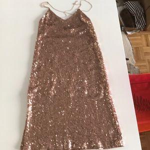 Zara Collectio Rose Gold Sequin dress